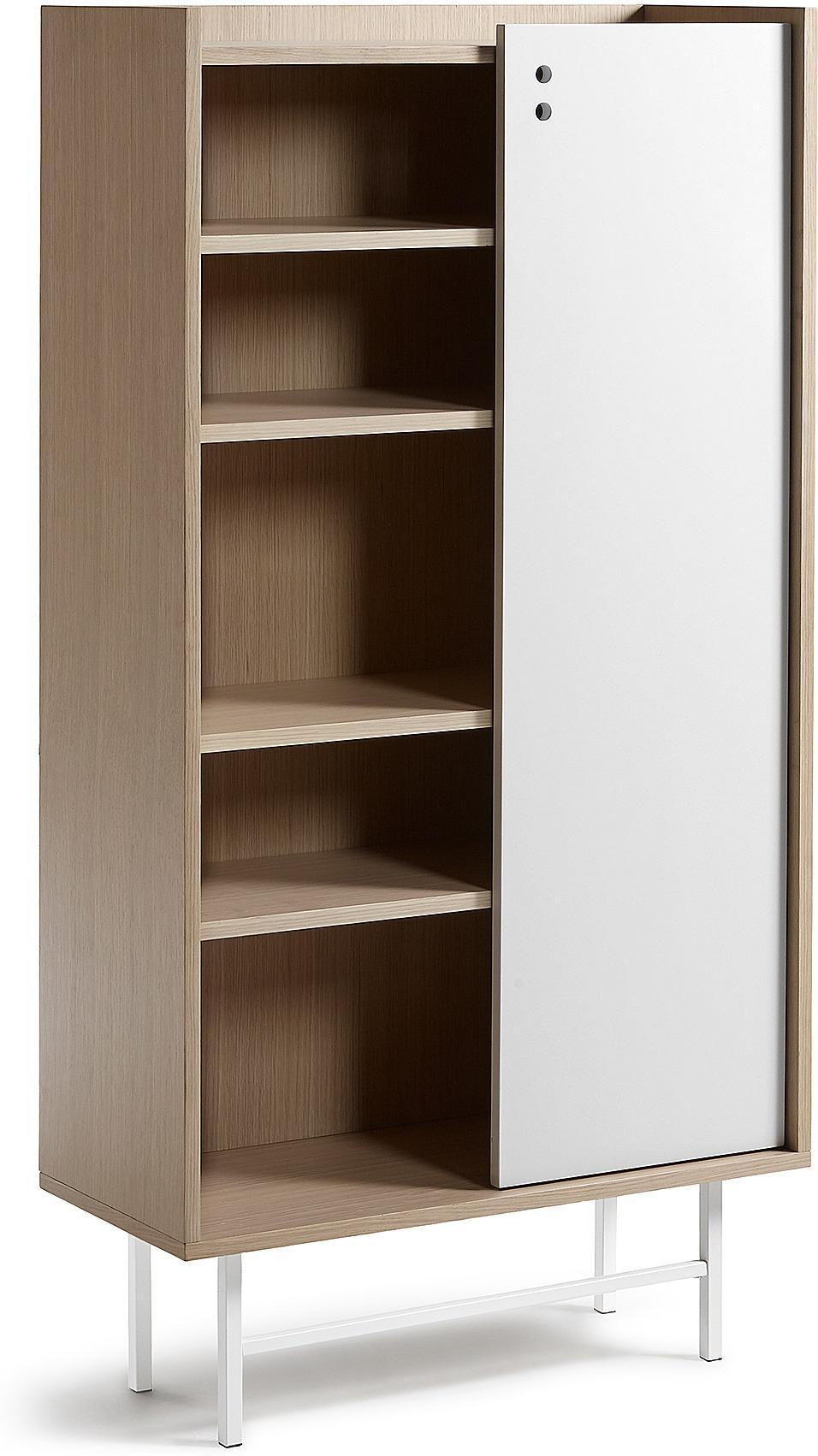 LaForma Bücherschrank Lish 180x54 Eiche Furnier MDF Weiß La Forma ...